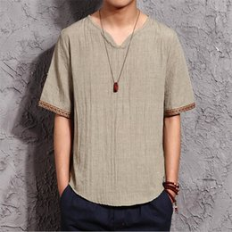 Wholesale Linen Shirt Plus Size - New Spring Summer Chinese style Casual Men Linen Shirt Solid V Neck Collar Leisure short Shirts Men Clothing Plus size