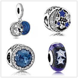 Canada Étoile de mer Sky Opal Glaze Dangle Charme 925 en argent Sterling européenne charms flottant perle avec émail bleu Fit Pandora Bracelet bijoux de bricolage cheap blue float Offre