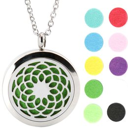 Wholesale Padded Plain - 10pcs 30mm plain Lotus Flower Aromatherapy Essential Oil surgical Stainless Steel Perfume Diffuser Locket Necklace with chain Free 20pcs pad