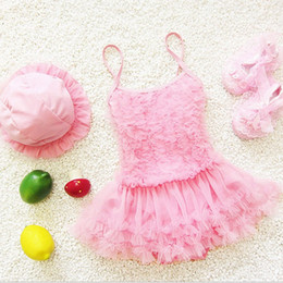 Wholesale Girl S Tutu Sets - Girls Princess Lace Layer TuTu Dress OnePiece Swimsuit Tankini + Hat set 17-3