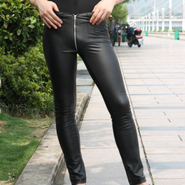 Wholesale Sexy Leather Skinny Jeans - Wholesale-Color charm Jitu men's casual pants Tight Sexy Cool waist leather crotch zipper feet MSN-02 jeans