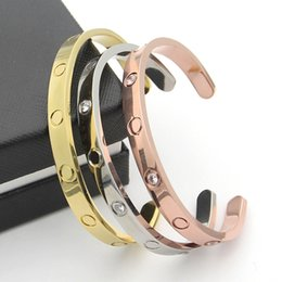 Wholesale Hot Sale Gold 18k - hot sale New style silver rose 18k gold plated 316L titanium steel open love screw bangle bracelet for men couple woman come with dust bag
