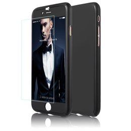 Wholesale Hybrid Hard - New Luxury Hybrid Tempered Glass +Acrylic Hard 360 Angle protect Case Cover For iPhone 6 6s 7 7 Plus