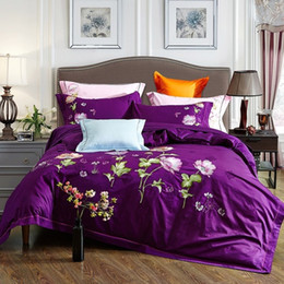Wholesale Luxurious Satin Duvet - 10 designs- Luxurious Cotton Satin Embroidery Bedding Set Duvet Cover Bed Linen Bed sheet Pillowcases Bedclothes King Queen 4pcs
