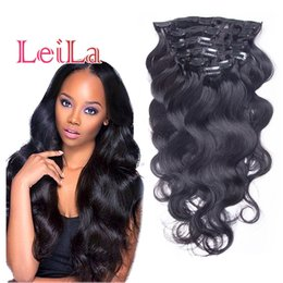 Wholesale Head Hair Pieces - Brazilian Body Wave Clip In Hair Extensions 70-120g Unprocessed Human Hair Weaves 7 Pieces set Full Head