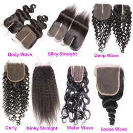 Wholesale Lace Closures Peruvian Wavy Hair - 130% Density Body Wave Brazillian Top Lace Closure Cheap Curly Deep Kinky Loose Straight Wet Wavy Virgin Brazilian Human Hair Closures Piece