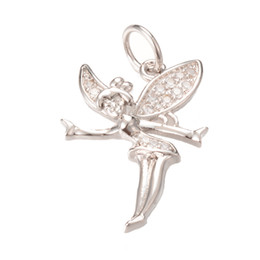 Wholesale Silver Angle Charms - Jewelry Pendant Charm Silver Color Angle CZ Micro Pave Charm Pendant for DIY Jewelry ICPS016 Size 28*18.5mm