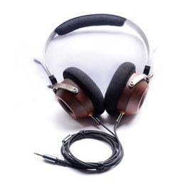 Écouteurs de câble de bricolage en Ligne-OKCSC Bandeau En Bois Casque Vintage Style DIY Ouvert Voix HiFi Stéréo Écouteurs Heaset Peut Changer Câble
