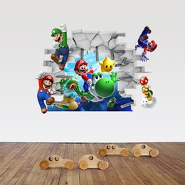 Wholesale Live Mario - 48*65cm Cartoon Super Mario Wall Stickers DIY Art Decal Removeable Wallpaper Mural Sticker for Kids Room ZY1440