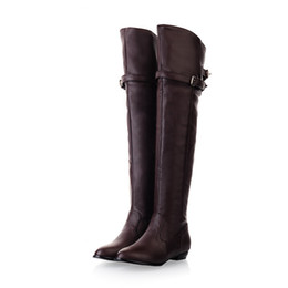 Wholesale Black Knee Wedge Boots - Wholesale-ARMOIRE New Winter Women Over the Knee Thigh High Boots Sweet Black Brown Ladies Shoes A181H Plus Big Size 45 10 11 Warm Fur
