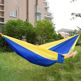 Wholesale Fabric Double Hammock - Wholesale- Double Person Assorted Color Portable Parachute Nylon Fabric Hammock for Indoor Outdoor Use Multi-color in options