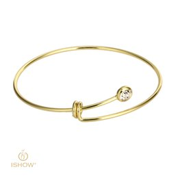 Wholesale Womens Gold Diamond Bracelet - 10pcs Berif & Fashion Womens Real Gold Silver Plated diamond brass Bangle Bracelet adjustable simple Rhinestone Crystal bracelets