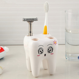 Wholesale Toothbrush Bracket - Wholesale- Cartoon Toothbrush Holder,Teeth Style 4 Hole Stand Tooth Brush Shelf Bathroom Accessories Sets,Bracket Container For Bathroom