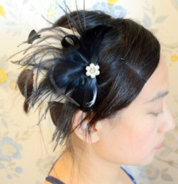 Wholesale Black Feather Headpieces - Black Bridal Feather Fascinator Wedding Feaather Headpiece Bridal Feather Hair Accessory IRISF002