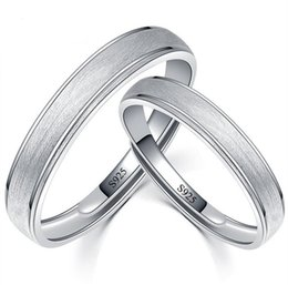 Wholesale Tungsten Wedding Bands Heart - 925 Sterling Silver Couple Frosted Open Ring Eternity Band Ring Engagement Wedding Band