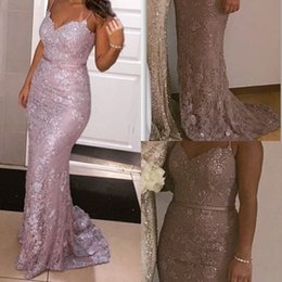 Wholesale Best Dresses For Size 12 - Sparkly Spaghetti Straps Mermaid Prom Dresses Lace Beaded Sheath Evening Dresses For Women Bling Bling Prom Gowns 2017 Best