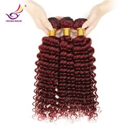 Wholesale 99j Human Hair Wavy - Irina 3 bundles Brazilian Hair Burgundy 99j Wholesale Virgin Hair Peruvian Malaysian Indian Human Hair Extensions Deep Curly Wavy Weaves
