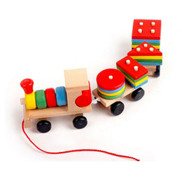 Wholesale Funny Activities - Funny Children Education Toy Wooden Stacking Train Toys 3 pieces trains with activities with block bricks assembly whirling train fast Post