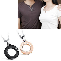 Wholesale C Fashion Necklace - 1 Pair Fashion Charming Letter C Pendant Necklaces Couples Stainless Steel Costume Jewelry Gift for Lover