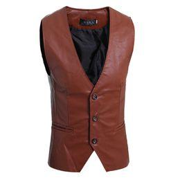 Wholesale Leather Suit Vest - Wholesale- Blazer Men 2017 Men'S Fashion Suit Vest Brand Male Solid Leather Vest Three Button Mens Vest Terno Masculino XL YEWV
