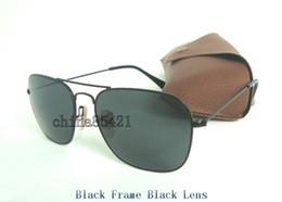 Wholesale pink lens sport sunglasses mens - 1Pcs High Quality Mens Womens CARAVAN Sunglasses Metal Black Frame Black Glasses Lens 58mm Come With Box And Case
