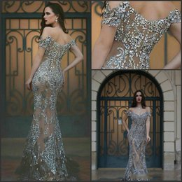 Wholesale Tulle Prom Pattern - Wholesale - 2017 Amazing Prom Dresses Off the Shoulder Illusion Back Major Beading Sweep Train Mermaid Long Evening Gowns Custom BA1531