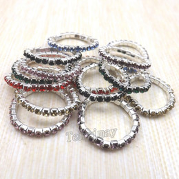Wholesale Elastic Fashion Ring - Fashion Elastic Crystal Rings Mix Color For Girl Stretchy Crystal Rings Pack of 50pcs Free Shipping