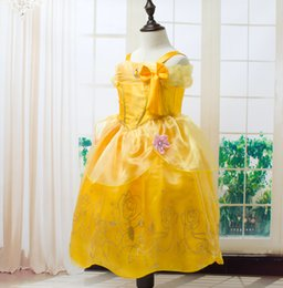 Wholesale Wholesale Beauty Pageant Dresses - Wholesale 3-10 Years Children Kids Beauty And Beast Princess Dresses Party Pageant Ball Gown Cosplay Dress Belle Lace Dress