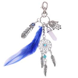 Wholesale Dreamcatcher Keychains - Retro Women Men Dreamcatcher Keyring Fashion Silver Plated Turquoise Beads Tassel Key Chains Boho Jewelry Feather Keychain