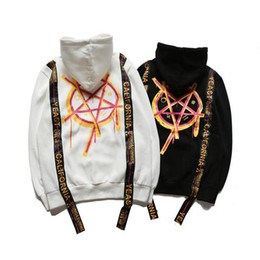 Wholesale Magic Sleeves - New Pentagram Magic Array Black Ribbon Sweatshirts Hoodies Hand Painted Graffiti Loose Hooded Sweater Men Women Ribbon Hip Hop Hoodie