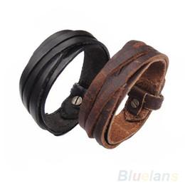 Wholesale Thin Leather Bracelets - Wholesale-Men Women Unisex Multi thong braided thin Genuine Leather Bracelet wristband Jewelry Items 1EQ2