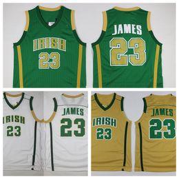 Wholesale School Shirt Men - St. Vincent Mary High School Irish 23 LeBron James Jerseys Green White LeBron James Basketball Jerseys Stitched Sports Shirts