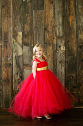 Wholesale Tulle Fluffy Flower Girl Dresses - Beauty 2017 Wedding Flower Girl Dresses Red Tulle With Gold Bow Sash Ankle Length fluffy Ball Gown Birthday Evening Party Prom Gowns Kids