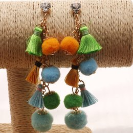 Wholesale Dangling Hair Accessories - The New Design Western Multilayer Long Style Candy Color Earrings Handmade Folk Tassel Hair Bulb Earring All-Match Ear Accessories