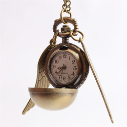 Wholesale Rope Watch Men - Free Shipping Necklace Pendant Bronze golden Shell wing Chain Antique Women Man Boy Girl Lady New Pocket Watch Ravenclaw School