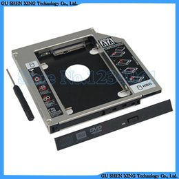"""Wholesale Case Hd Sata - Wholesale- Universal 9.5mm 2.5"""" SATA to SATA Aluminum 2nd HDD Caddy SSD HD Hard Disk Driver Case CD DVD-ROM Optical Bay for Notebook Laptop"""