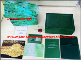 Wholesale wooden box wholesale - 4PCSFactory Supplier 116610 116660 gmt daydate Luxury Green With Original Box Wooden Watch Box Papers Card Wallet Boxes&Cases Wristwatch Box
