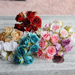 Wholesale Sell Wedding Bouquets - Hot Selling 6 Heads Small Fabric Rose Flowers Artificial Bouquet Wedding Party Home Decor Craft DIY
