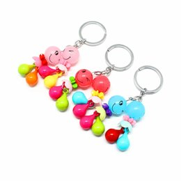 Wholesale Girl Wood Buttons - Factory direct sales cartoon small figure plastic key button 3D three-dimensional key ring creative exquisite key ring