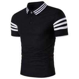 Wholesale Slim Fit Men Cheap - Summer New Style Casual Fashion Otdoor Elegant Cheap Slim Fit Y-Neck Nylon Striped 3 Colors Plus Size Short Sleeve Golf Men's Polo Shirts