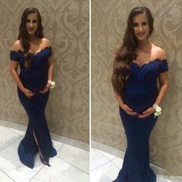 Wholesale India Pictures - 2018 Navy Blue Lace Prom Pregnant Dresses India Woman Off Shoulder Mermaid Split Front Side Applique Plus Size Maternity Evening Party Gowns