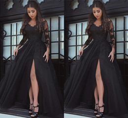 Wholesale Purple Satin Robes - Black Amazing V-neck Long Sleeve Prom Dresses Appliques Tulle Long Formal Prom Gowns Robe De Bal Party Evening Dresses