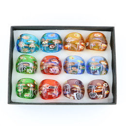 Wholesale Wholesale China Factory Rings - New Fashion Millefiori Gold Sand Lampwork Glass Rings Factory Outlet Made By Hand 12pcs pack MC1014