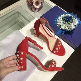 Wholesale Embellished Sandals - 2017 New Fashion Thick Heels Shoes Woman Sandals Pearl Embellished Red Black Nude Suede Leather Buckle Strap Women Wedding Party Pumps 35-39