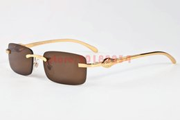 Wholesale Vintage Glass Head - Classic Men Women Rimless Sunglasses Vintage Brand Designer Leopard Head Gold Meal Frames Optical Eyewear Buffalo Horn Sun glasses