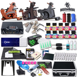 Wholesale Tattoo Machine Carry Case - Tattoo Kit 3 Machine Guns 10 Inks Power Supply Needles Grip Carry Case Beginner Tattoo Kit