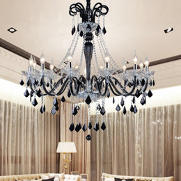 Wholesale French Style Lamps - European style French villa bedroom black candle crystal chandelier creative living room bedroom wedge type restaurant crystal pendant lamp