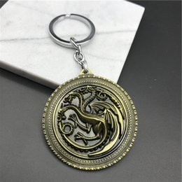 Wholesale 3d Alloy Key Chains Wholesale - Fashion 3D Pattern Design Creative Key Chain Game of Thrones Mother of Dragons Key Ring Fine Metal Key Chain