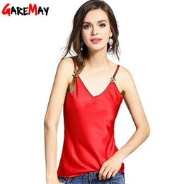Wholesale Strapless Cami - Wholesale-GAREMAY Tank Top For Women Halter Top Summer 2016 New Sexy Red Tank Cami Bee Embroidery Strapless Clothes Ladies Tank Top 1082