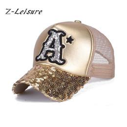 Wholesale Wholesale Women Bling Caps - Wholesale- 2017 Summer Hat Baseball Cap Sequins Bling Hinning Mesh Caps Adjustable Fashion Women Girls Hats Snapback Casual Gorra BC037